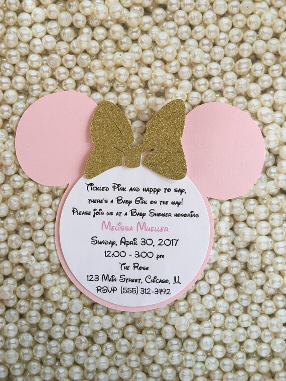 tickled pink gold baby shower minnie mouse glitter invitations etsy