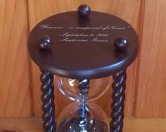 Original Wedding Hourglass - Engraving on Base of Sand Ceremony Hourglass - Text and Symbols