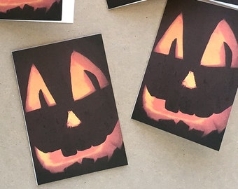 halloween cards, jack o lantern card set, photo notecards, fall party invitations, 5 small cards and envelopes