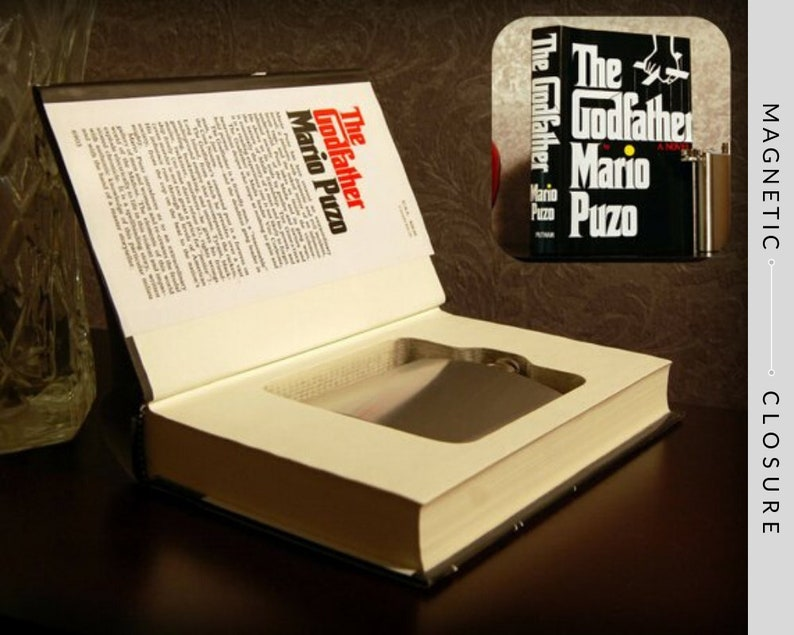 Hollow Book Safe & Flask  The Godfather  Magnetic Closure image 0