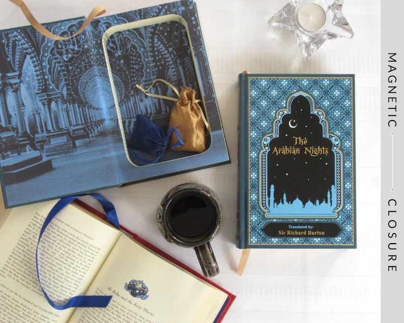 Hollow Book Safe  The Arabian Nights Leatherbound  Magnetic image 0