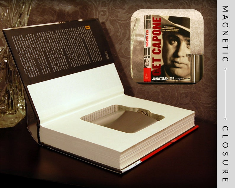 Hollow Book Safe & Flask   Get Capone  Magnetic Closure image 0