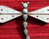 Zuni Sterling Silver Multi-Stone Inlay Dragonfly Pin Pendant
