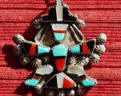 Southwest Sterling Silver Turquoise Multi-Stone Inlay Knifewing Pin Pendant Necklace