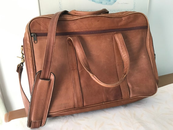 Expanding Leather Laptop Briefcase Shoulder Bag