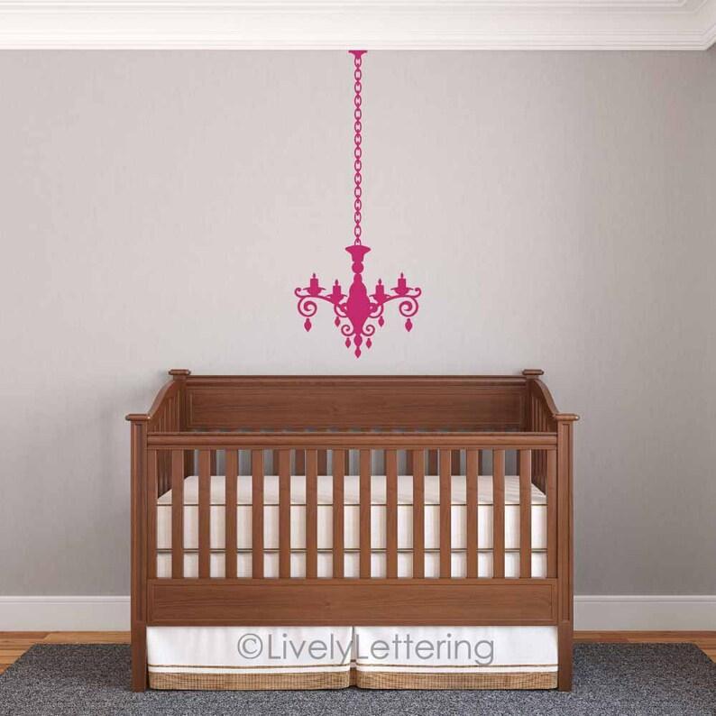 Chandelier wall decal, elegant girl nursery, teen bedroom decal, chandelier  wall art sticker, shabby chic wall decor, vinyl lettering MV1903