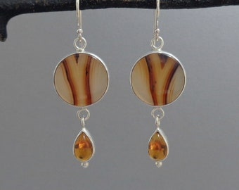 Montana Agate and Citrine Earrings in Sterling Silver, Glowing Gemstone Earrings
