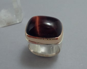 Red Tiger's Eye Ring in 18k Rose Gold and Sterling, Large Tigerseye Ring in Pink Gold and Silver
