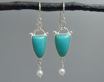 Blue Opalized Wood and Pearl Earrings in Sterling Silver, Teal and White Dangle Earrings