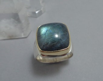 Teal Labradorite Ring in 18k Gold and Sterling, Cushion Cut Teal and Gray Gemstone Ring