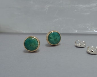 Green Turquoise Stud Earrings in 18k Gold and Sterling, American Turquoise Post Earrings