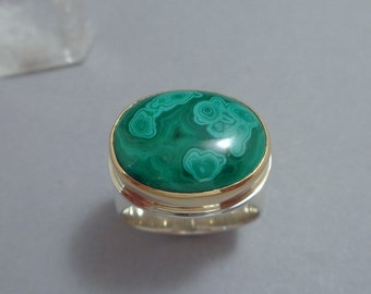 Malachite Ring in 18k Gold and Sterling, Bright Green Statement Ring
