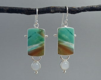 Blue Opalized Wood and Moonstone Earrings in Sterling Silver, Natural Stone Earrings