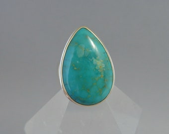 Kingman Turquoise Ring in 18k Gold and Sterling, Pear Shaped Green Turquoise