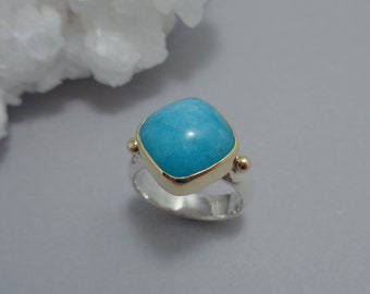 Amazonite Ring in 18k Gold and Sterling Silver, Cushion Cut Light Teal Stone Ring