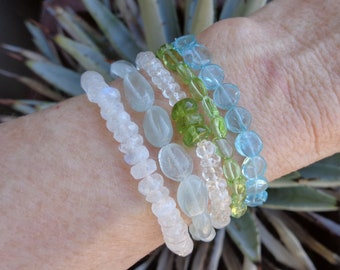 Gemstone Beaded Bracelets, Blues and Greens Natural Stone Beads