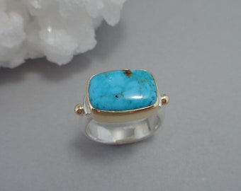 Pinto Valley Turquoise Ring in 18k Gold and Sterling, Rectangular Turquoise Ring, Arizona Turquoise