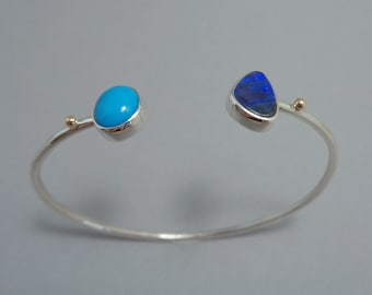 Boulder Opal and Sleeping Beauty Turquoise Bracelet in Sterling and 18k Gold, Simple Cuff Bracelet