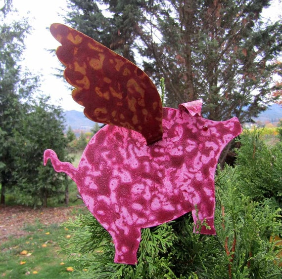 Sparkly Pink or any Color Flying Pig Handmade  Metal Plant Yard Garden Stake