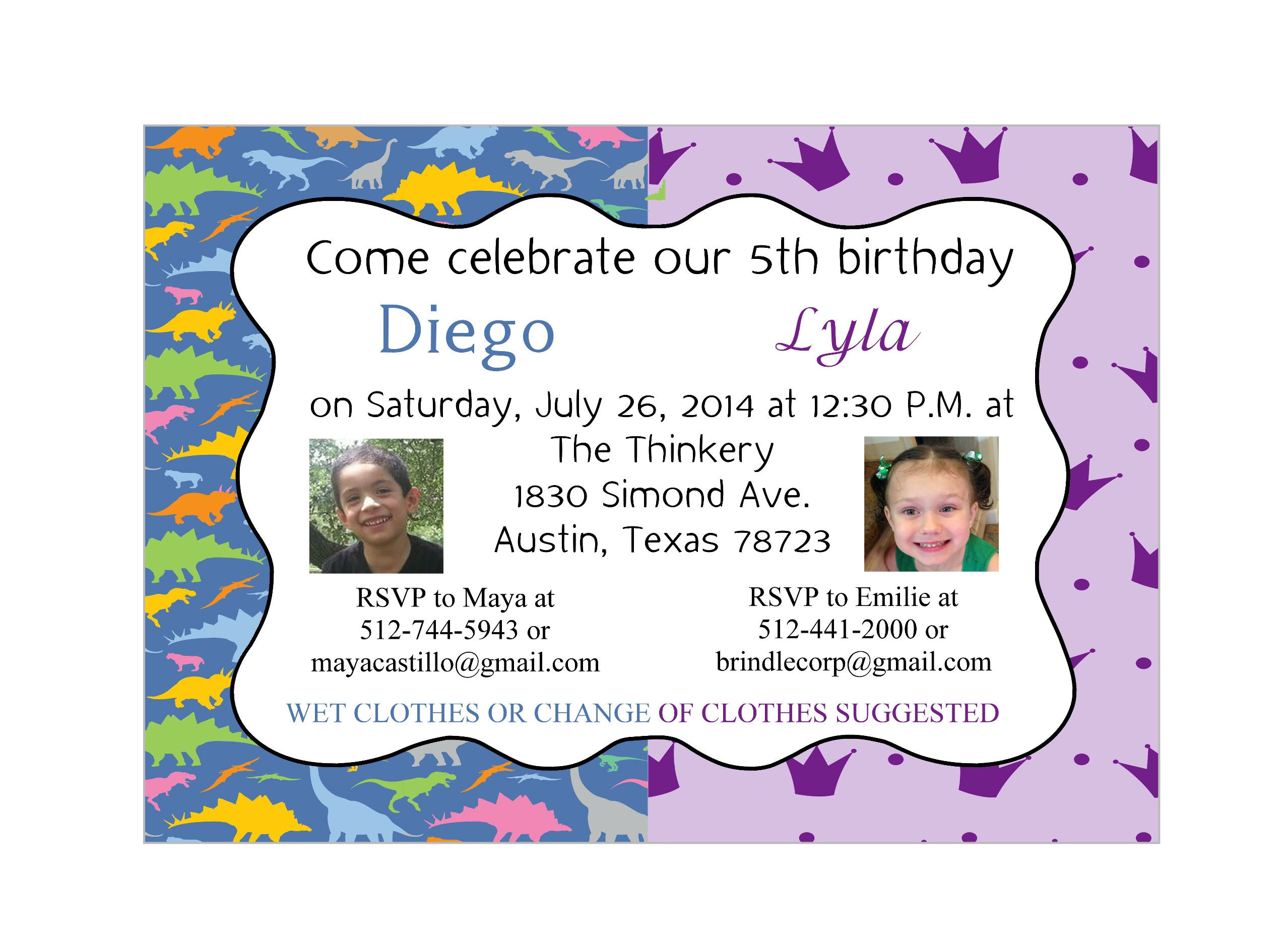 Dinosaur and Princess Birthday Invitation - Printed/Digital