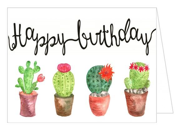 Carte De Joyeux Anniversaire Cactus Imprime Par La Poste Etsy