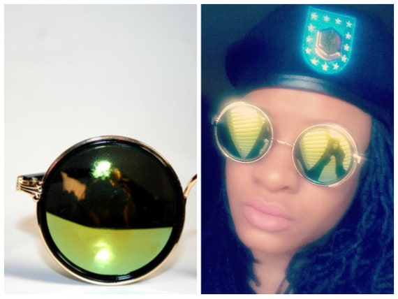 Round Goggles Mirrored Sunglasses