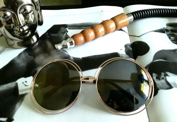 Oversized Halo Sunglasses Gold Frame Green Lens