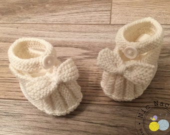 White slippers in pure Merino Wool for baby (0/3 months)