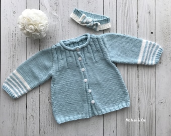 Baby Cardigan girl, buttoned, with his band, soft, comfortable, hand knit,  cotton, blue and white, 12-18 months 7e1ae8e2e96