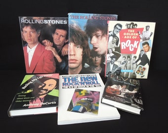 Rock and Roll Music Book Set - Vintage Rolling Stones Elvis - Rock Music Who's Who - Gift Musician