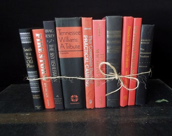 Decorative Books Coral, Black, Red Colorful Books - Books by Color - Books for Decor - Instant Library Vintage