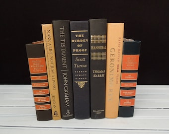 Home Staging - Coral Navy Blue Black Book Stack - Decorative Vintage Books by Color - Books for Decor - Instant Library