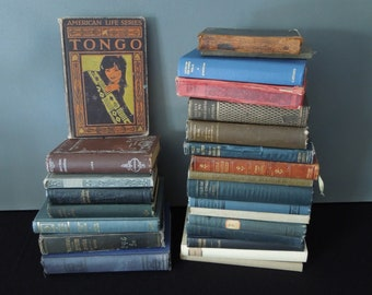 Dark Rustic Book Collection -  Antique Vintage Books for Decor - 25 Smaller Books Instant Library - Vintage Foot of Books