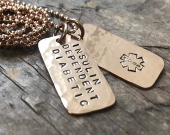 Rose Gold Medical mini Dog Tag Necklace Jewelry Medical Alert Necklace Diabetic Alert Custom Medical Allergy Alert dog tags
