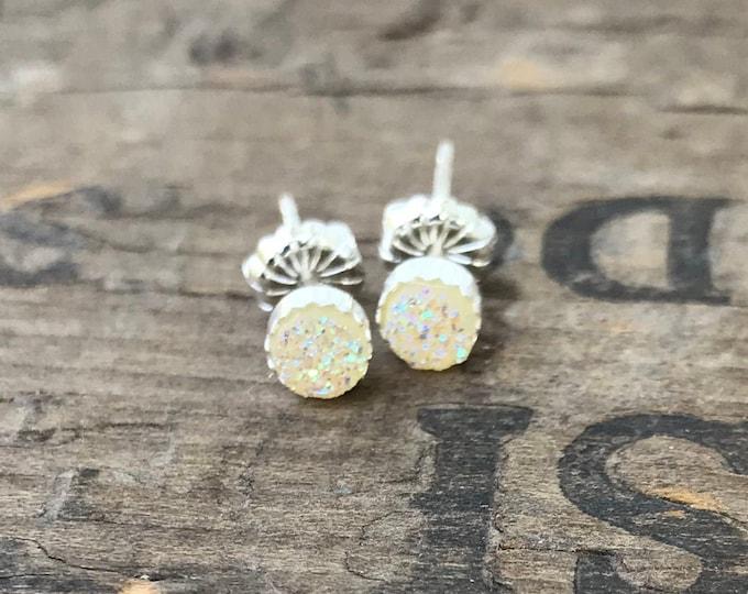 Tiny Druzy Silver Stud Earrings Sterling Silver Faux Druzy Stud Earrings Sparkly Creamy White Druzy Sterling Silver studs