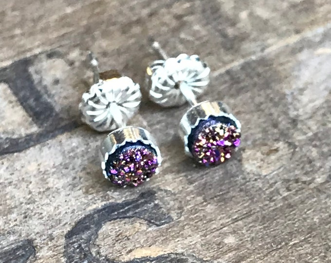 Tiny Rainbow Druzy Earrings Silver Stud Earrings Sterling Silver Faux Druzy Stud Earrings Sparkly Druzy Sterling Silver studs