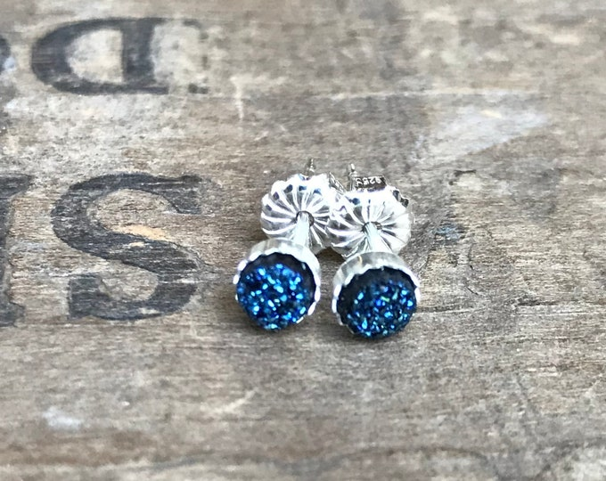 Tiny Blue Druzy Earrings Silver Stud Earrings Sterling Silver Faux Druzy Stud Earrings Sparkly Blue Druzy Sterling Silver studs