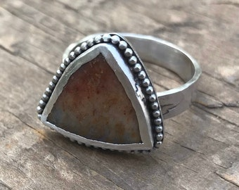Triangle Gemstone Ring Rustic Boho Ring Eagle Sterling Silver Southwest Band size 9