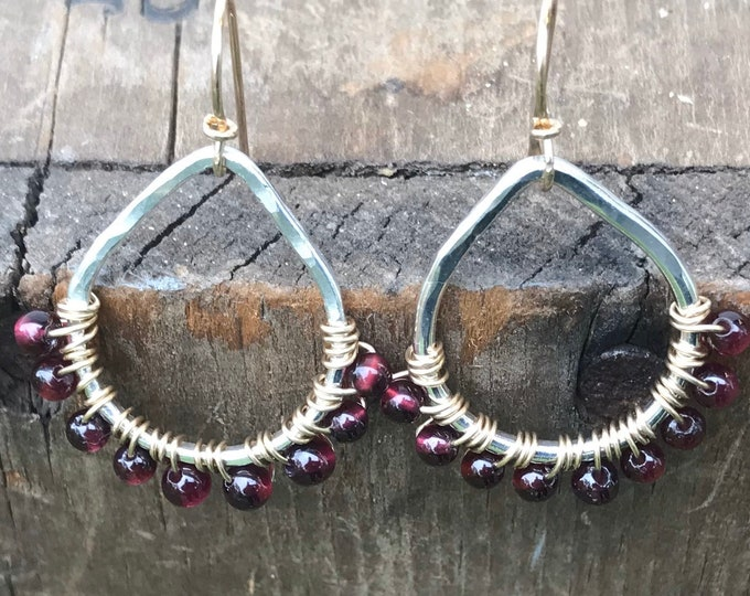 Garnet Gold Sterling Silver Earrings Hammered Silver handmade dangle Earrings