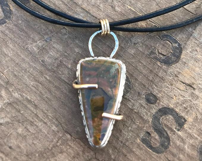 Leather Gold Silver Jasper Necklace Autumn Jewelry Brown Gold Silver Black Leather Autumn Gemstone