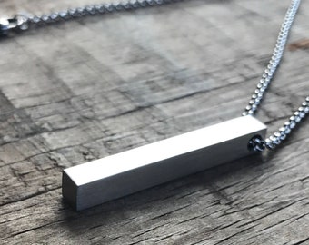 Mens Personalized Necklace Stainless Steel Bar Necklace 4 Sided Dad Hipster Daddy Necklace bar dad mens gift