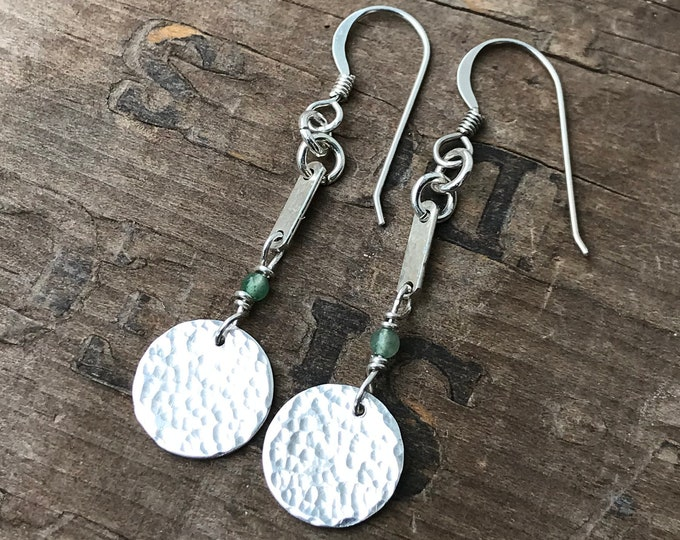 Sterling Silver Coin Hammered Silver and Jade Earrings 1 3/4 inch long