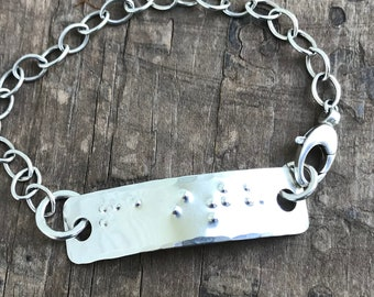 Braille Sterling Silver Bracelet Custom Braille Word Bracelet Unisex Friendship Bracelet