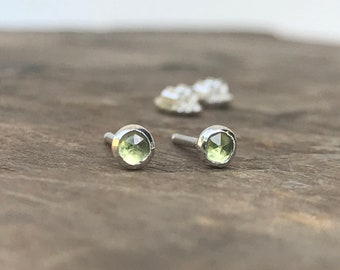 Peridot Tiny Earrings Green Gemstone Stud Earrings || Sterling Studs || August Birthstone Earrings 3mm Sterling Silver