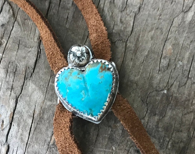 Turquoise Heart a sterling silver Bolo style leather necklace boho suede adjustable American Mined Turquoise