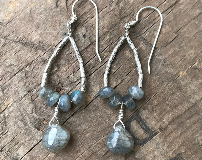 Teardrop Labradorite Earrings sterling silver Earring Handmade Sterling silver Gemstone Labradorite Earrings Sterling Silver