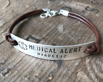 Sterling Silver Leather Medical Bracelet Custom Medical Alert Jewelry Custom Made Allergy alert Medication