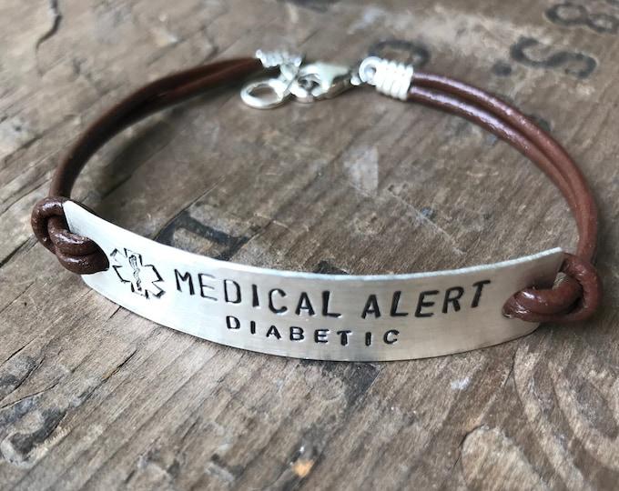 Sterling Silver Leather Medical Bracelet Custom Medical Alert Jewelry Custom Made Allergy alert Medication