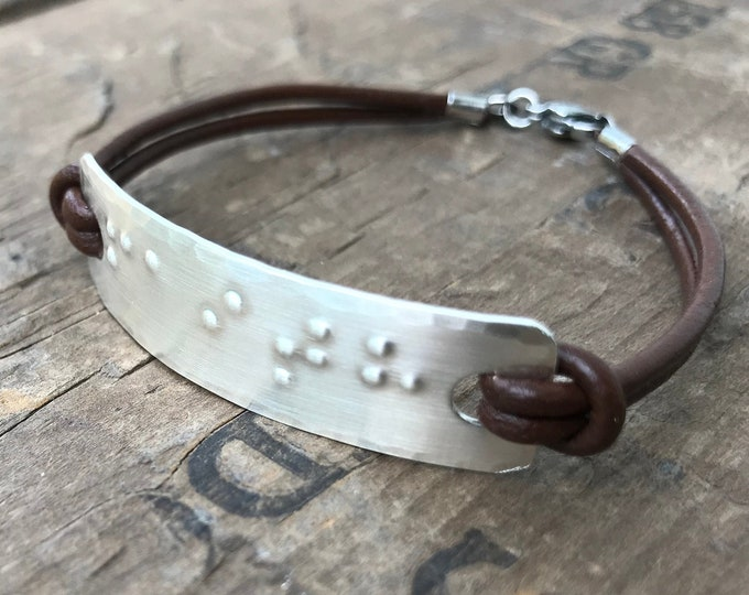 Silver Braille Bracelet Personalized Sterling Silver Handmade Bracelet Custom Braille Message Friendship Bracelet