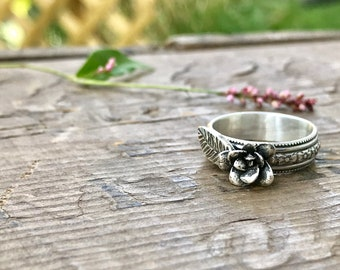 Floral Silver Ring Flower Sterling Silver Size 8 Solid Sterling